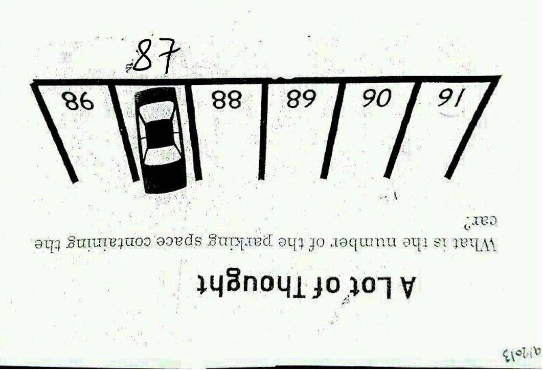 Parking Lot Number Puzzle (SOLUTION)